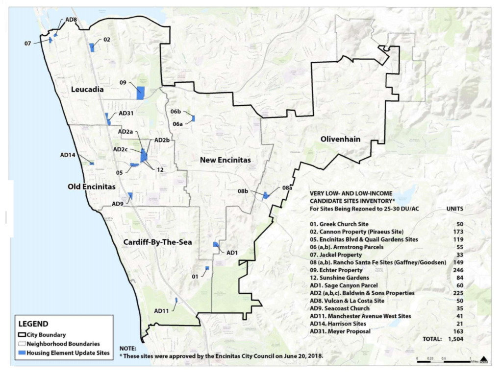 Map of Encinitas Upzoned Sites