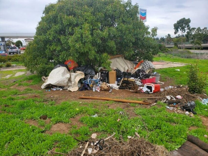Homeless camp at Orpheus Ave, Encinitas